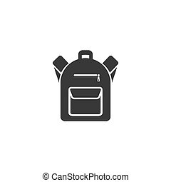 Backpack icon in flat style. Vector illustration