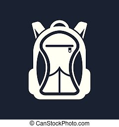 Backpack icon isolated on dark background.