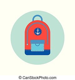 Backpack Icon Isolated Travel Baggage Rucksack Flat Vector...