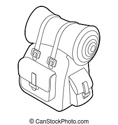 Backpack icon, outline isometric style