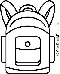 Backpack icon, outline style