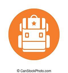 Backpack icon, school bag / orange color