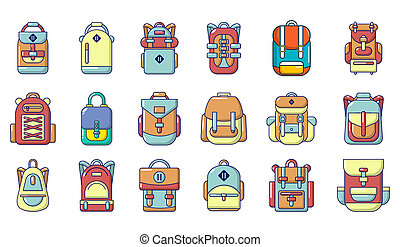 Backpack icon set, cartoon style - Backpack icon set....