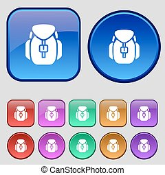 Backpack icon sign. A set of twelve vintage buttons for your design. Vector