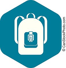 Backpack icon, simple style