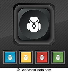 Backpack icon symbol. Set of five colorful, stylish buttons on black texture for your design. Vector