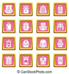 Backpack icons set pink square