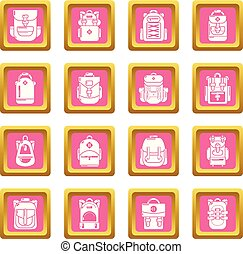 Backpack icons set pink square vector