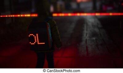 backpack., marche, rue, perdu, nuit, long, écolier