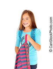 backpack., menina, segurando, dela