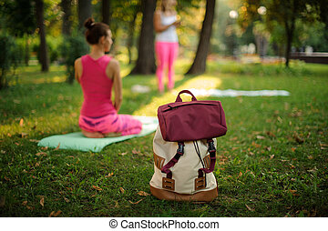 Backpack on grass in a green park on summer day against yoga class