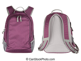 Backpack on white background