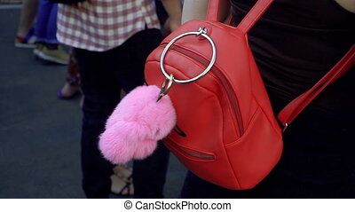 Backpack. Red backpack with a trinket toy
