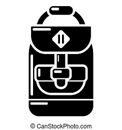 Backpack schoolboy icon, simple black style - Backpack...