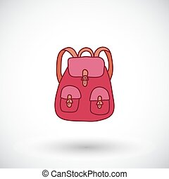 Backpack sketch. Hand-drawn tourism or education icon. Vector illustration