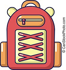 Backpack student icon, cartoon style