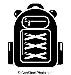 Backpack student icon, simple black style - Backpack student...