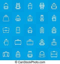 Backpack, suitcase, handbag icons - Backpack, suitcase, ...