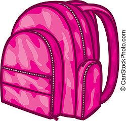 (backpack, tasche, schule, bag), satz