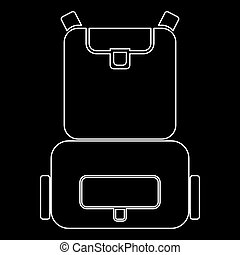 Backpack the white path icon .