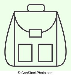 Backpack thin line icon. Student personal school bag outline style pictogram on white background Schoolbag or daypack for mobile concept and web design. Vector graphics.