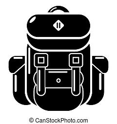 Backpack tourism icon, simple black style - Backpack tourism...