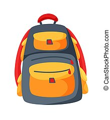 Backpack tourist equipment isolated on white