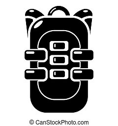 Backpack travel icon, simple black style - Backpack travel...