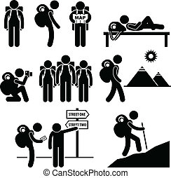 A set of human pictogram representing the activity of a backpacker travelling.