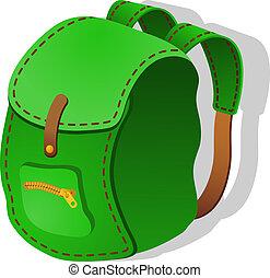 backpack., vetorial, verde, ilustração