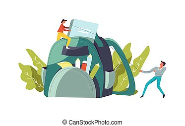 Backpack with books and pencil for school vector