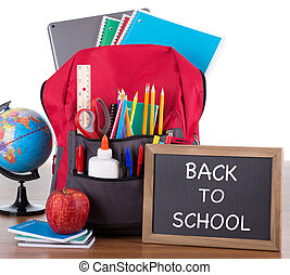Backpack With School Supplies and Chalkboard - Backpack with...