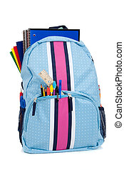 Backpack with school supplies on a white background - Blue...