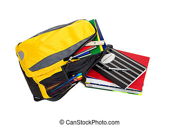 Backpack with school supplies on a white background - Yellow...
