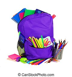 Backpack with school supplies over white - Purple backpack...