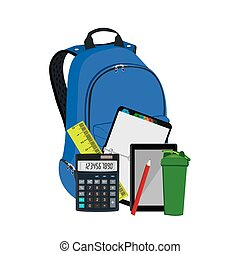 Backpack with school supplies, vector illustration