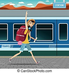 Backpacker at the railway station - European tourism...