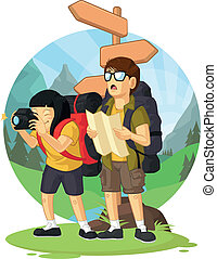 Backpacker Boy & Girl on Vacation