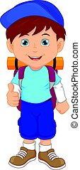 backpacker boy thumbs up - vector illustration of backpacker...