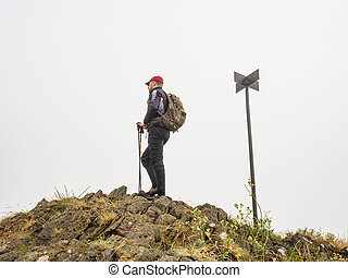 Alone backpacker carrying backpack and using trekking poles and enjoying valley view