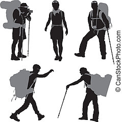 Backpacker - People with backpack vector silhouettes set
