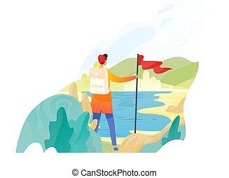 backpacker, escursionista, viaggiatore, o, esploratore, standing, presa a terra, bandiera rossa, e, guardando, nature., andando gita, backpacking, avventura, turismo, e, viaggiare, scoperta, di, nuovo, horizons., appartamento, vettore, illustration.
