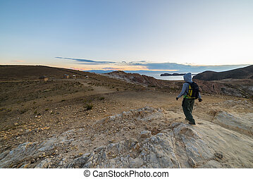 Backpacker exploring the majestic Inca Trails on Island of...