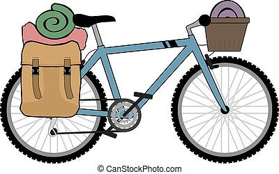 backpacker, fiets, illustratie