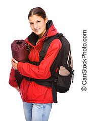 Backpacker - Full isolated studio picture from a young and...