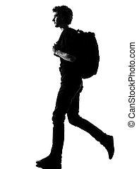 Backpacker, gyalogló, árnykép, fiatal, ember