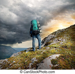 backpacker, in, mountains