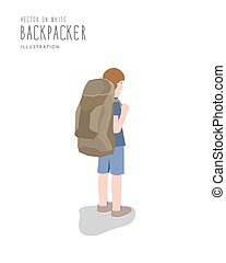Backpacker on white background flat vector.