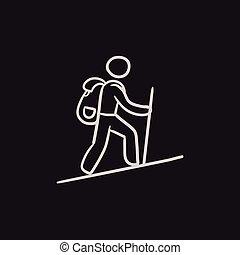 backpacker, schets, toerist, icon.