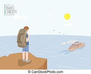 Backpacker standing on a cliff looking out to the sea and ferry boat. On a clear day flat vector.